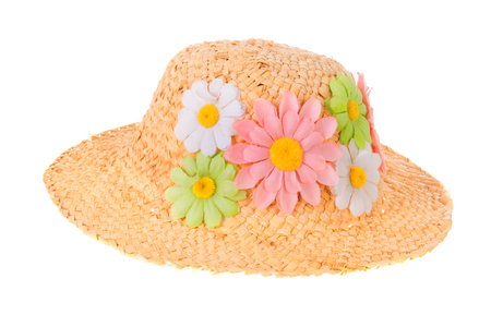 Straw summer hat with flowers isolated over white background