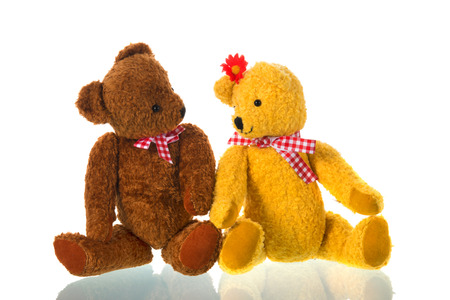 Stuffed bears toys isolated over white