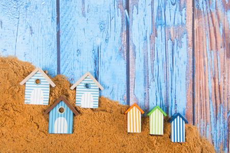 Beach huts in sand at the beach Stok Fotoğraf