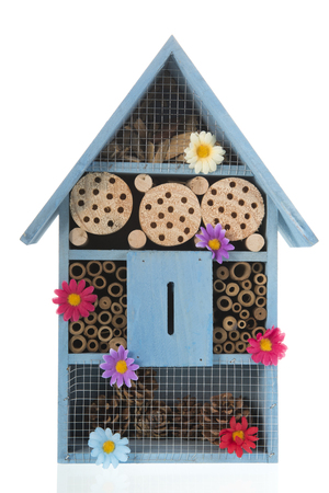Blue insect hotel with flowers isolated over white