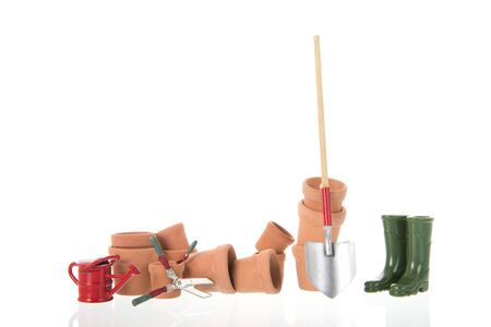 Gardening with flower pots and tools