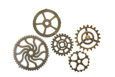 Industrial wheels in copper ans silver isolated over white Standard-Bild