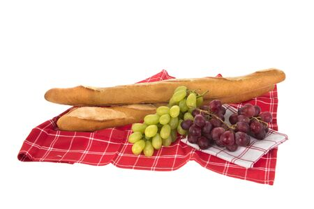 French bread and fresh grapes Banque d'images - 130817338