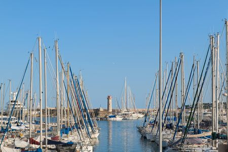 Luxury sail boats at pier in harbour Banco de Imagens