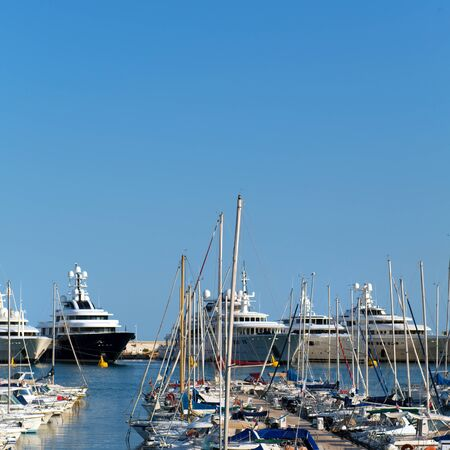 Harbor with big yachts in French Antibes Banco de Imagens