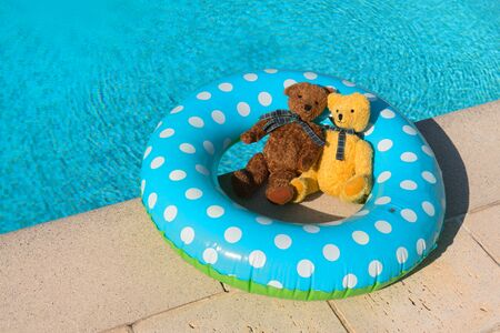 Two toy bears in inflatable toy in swimming pool
