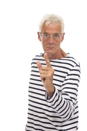 Angry senior man with finger isolated over white background