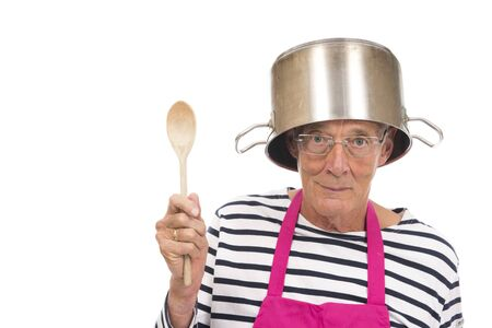 Senior houseman with pink apron and cooking pot isolated over white background