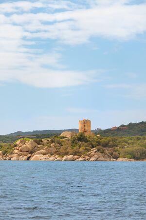 South Corsica near Bonifacio with Genoese tower at the coast Stock Photo
