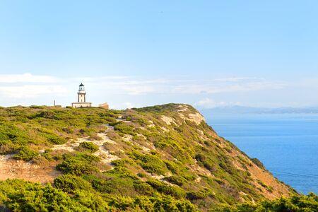 Weather station at coast on island Corsica near Bonifacio Stock Photo