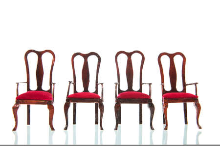 Queen ann style chairs isolated over white background Standard-Bild
