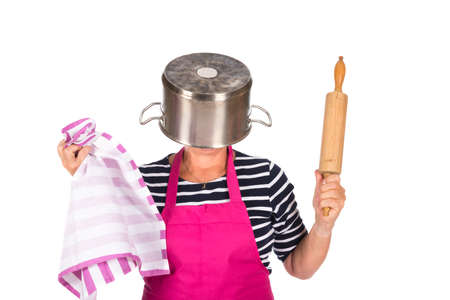 Funny woman with pin roller and pan isolated over white background