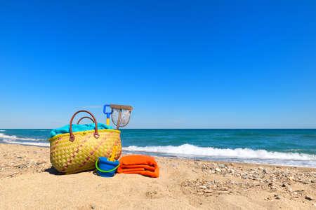 Beach bag and toys for summer vacation Reklamní fotografie