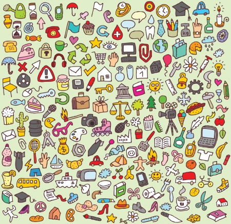 XXL Doodle Icon Set   collection of numerous small hand-drawn icon illustrations  Vector