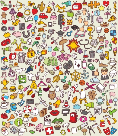 XXL Doodle Icons Set   collection of numerous small hand-drawn illustrations  Vector