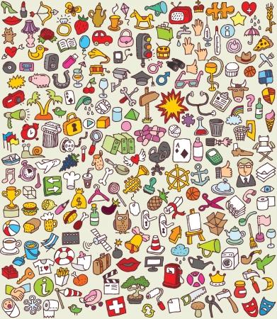 XXL Doodle Icons Set Sammlung von vielen kleinen handgezeichneten Illustrationen