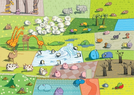 ZOO Landscape: animals collage Illustration