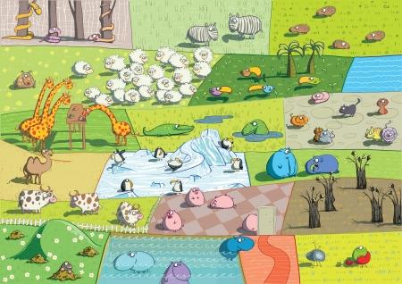 animal mole: ZOO Landscape: animals collage Illustration