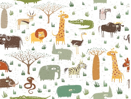 grasslands: Grunge African Animals Seamless Pattern