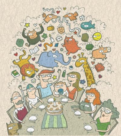 Feiert Geburtstag: Hand gezeichnete Illustration einer Familie um den Tisch und M�rchen Kreaturen oben Illustration