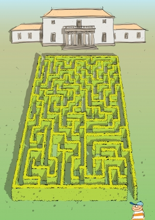 Landscape Hedge Maze Game  with solution in hidden layer   Vector