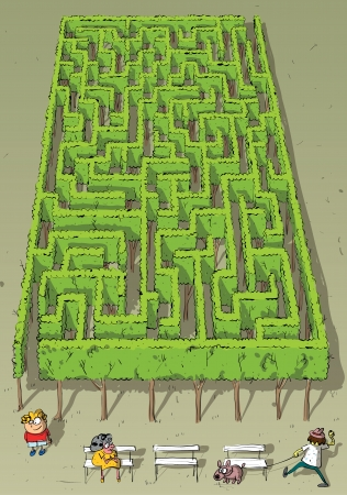 Landscape Park Trees Maze Game  with solution in hidden layer   Vector