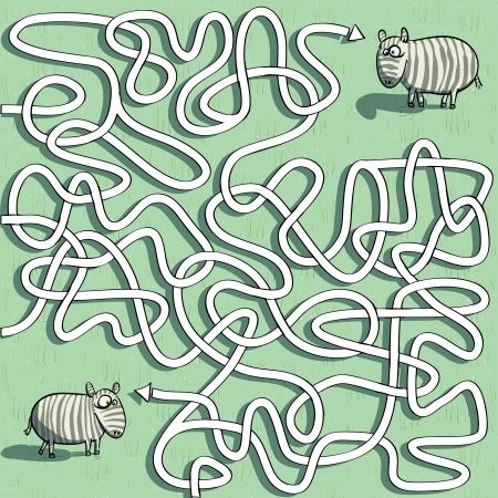 Zebra Maze Game  Vector
