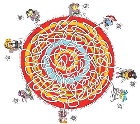 円形のカーペットの周りの 8 人の子供の迷路ゲーム
