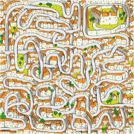 Old Town Maze Game (find the way to castle)  Vector