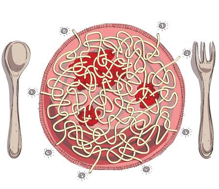スパゲッティ トマト ソースの迷路ゲーム