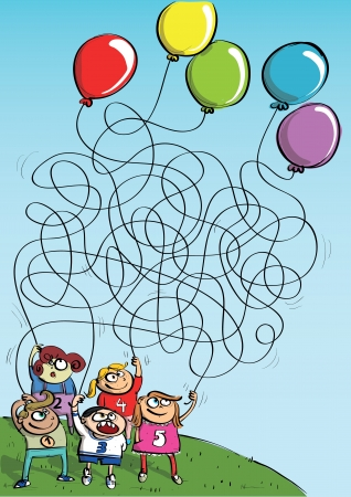 which one: Children Playing with Balloons Maze Game  Illustration