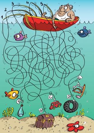 juego: Pescador Juego del laberinto Vectores