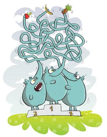 mind games: 3 elefantes y frutas: juego de laberinto para ni�os Vectores