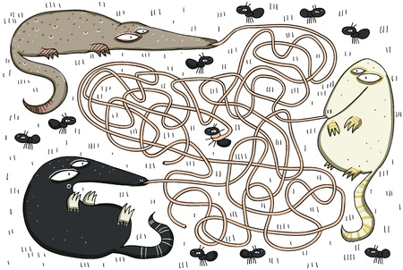 which way: Anteaters and Ants Maze Game ... Which anteater caught an ant? ... Answer: The gray one!