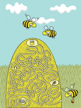 Honey Bees Maze Game with Solution in hidden layer