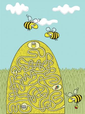 Honingbijen Maze Game met Solution in verborgen laag Stock Illustratie