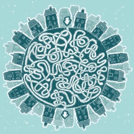 the maze: Global City Juego del laberinto ... Tarea: Encontrar el camino correcto a trav�s de mundo!