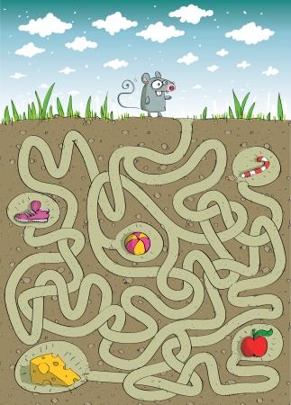 マウスとチーズ: 非表示層内のソリューションの迷路ゲーム  イラスト・ベクター素材