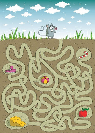 Mouse and Cheese : Maze Game with Solution in hidden layer Stock Vector - 17111369