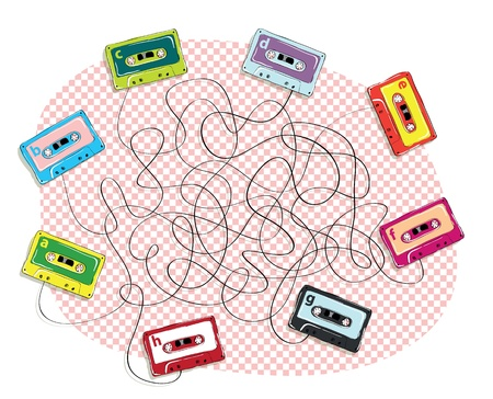 pathfinder: Tape Maze Game task: Find all four pairs of tapes! answer: b-d, a-h, c-g, e-f  Illustration