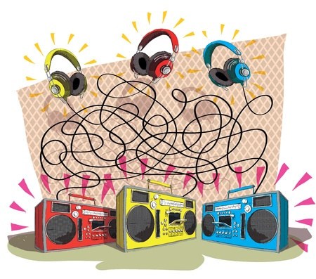 Headphones Maze Game task: Match each headphone (color) with tape recorder (color)! answer: 3 pairs; yellow to blue, red to yellow, blue to red.  Vector