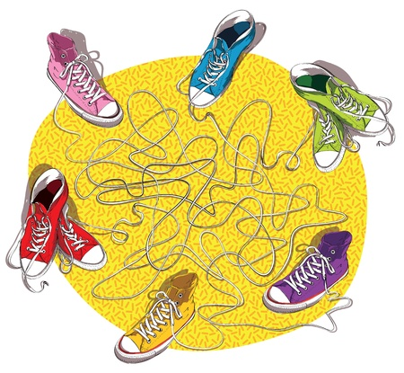 same: SNEAKERS MAZE GAME : task: Connect shoes which are linked with the same shoelace! answer: pink and red; blue and purple; green and orange.