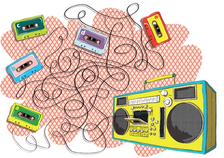 Tapes and Boom-box Maze Game Task: Find out which tape goes to tape recorder! Answer: Tape with letter d.  Illustration