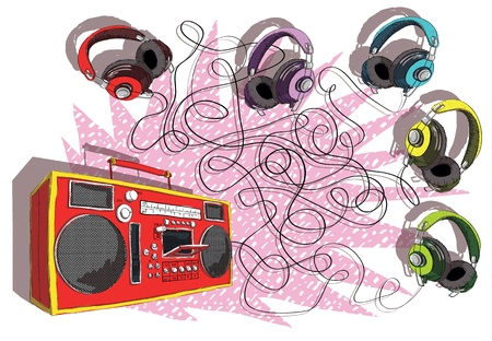 boombox: Headphones and Boom-box Maze Game task: Which headphone leads to tape recorder? answer: Violettepurple headphones!  Illustration