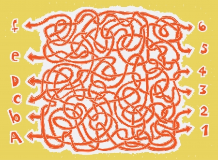 which way: ABC hand-drawn Maze Game ... Task: Connect numbers with letters! ... Answer: 1-D, 6-A, 3-F, 2-B, 4-E, 5-C.  Illustration