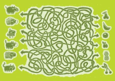 mind games: Los animales y los frutos del juego a mano Maze ... Tarea: Conecte animales con frutas! ... Respuesta: pera, perro, cerdo cereza, naranja-cat, banana-erizo, la manzana y las tortugas, pi�a-p�jaro. Vectores