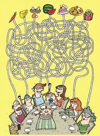 Familie en Voedselkwaliteit Maze Game ... Taak: Wie eet wat? ... Antwoord: opa - paddestoelen; zoon - frietjes, vader - pizza, baby - wortel, moeder - watermeloen, dochter - taart; oma - kaas ... Stock Illustratie