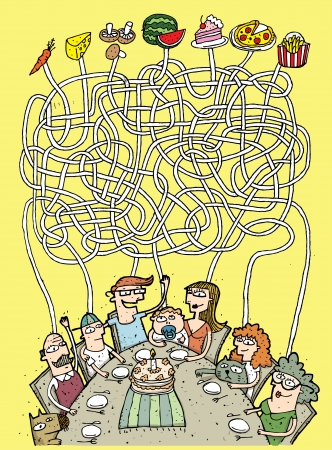 maze puzzle: Family and Food Maze Game ... Task: Who eats what? ... Answer: grandpa - mushrooms; son - french fries; father - pizza; baby - carrot; mother - watermelon; daughter - cake; grandma - cheese ...  Illustration