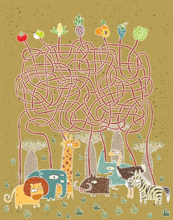 Animals and Food Maze Game ... Task: Who eats what? ... Answer: lion - grapes; elephant - corn; giraffe - pineapple; warthog - salad; rhino - apple; ostrich - tomato; zebra - peaches.  Vector