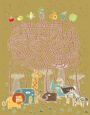 vogelspuren: Tiere und Lebensmittel Maze Game ... Aufgabe: Wer frisst was? ... Antwort: Löwe - Trauben; Elefant - Mais; Giraffe - Ananas; warthog - Salat; rhino - Apfel, Strauß - Tomate; zebra - Pfirsiche.
